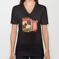 Unisex V-Neck featuring Puglie Poot Loops by Puglie