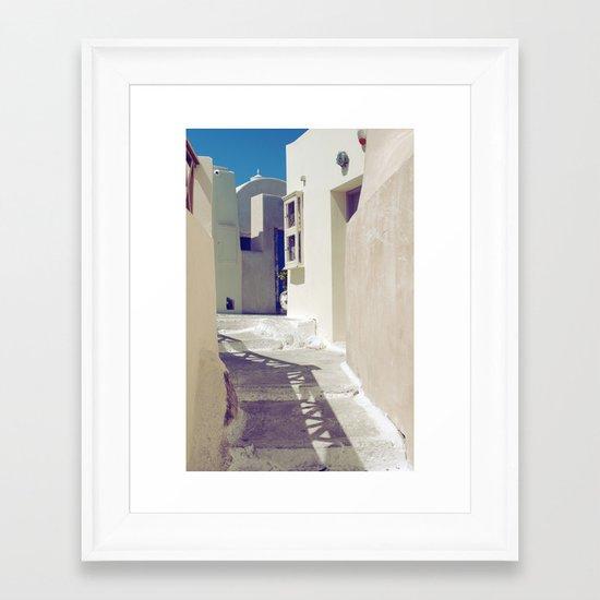 Santorini Walkway II Framed Art Print