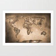 Stars World Map. Sepia Art Print