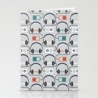 Headphones Pattern Stationery Cards