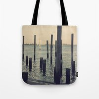 Pier Pilings in Southport Harbor Tote Bag