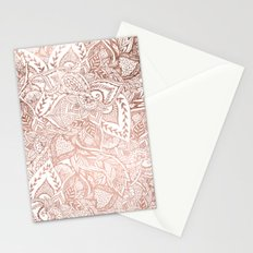 Chic hand drawn rose gold floral mandala pattern Stationery Cards