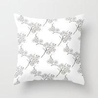Japanese Trees ( Japan, Asia, Black-White, Delicate, Elegant print ) Throw Pillow