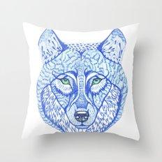 ice wolf Throw Pillow