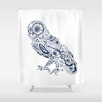 Folk Floral Indigo Owl Shower Curtain