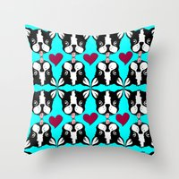 French kissing Boston Terriers Throw Pillow