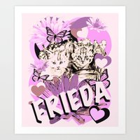 Frieda's Baby Cats in Pink Art Print