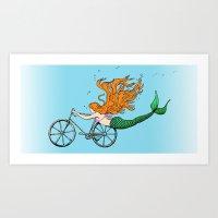 Mermaid on a Bike in Blue Art Print
