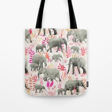 Sweet Elephants in Pink, Orange and Cream Tote Bag