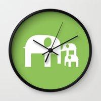 Green Elephants Wall Clock