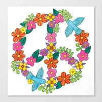 Flower Peace Sign Canvas Print