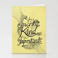 Smart. Kind. Important. (yellow) Stationery Cards