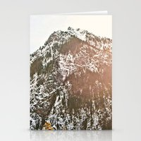 Snowy Mountain Peak in the Sun Stationery Cards
