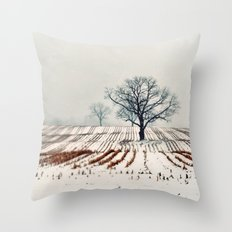 Winter Farm Throw Pillow