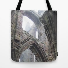 Whitby Abbey in Fog #2 Tote Bag