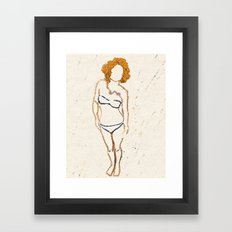 Don't Look Now - Shy Ginger Girl Framed Art Print