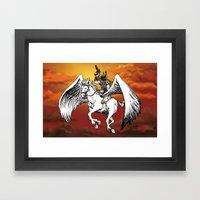 Boba Fett riding Pegasus Framed Art Print