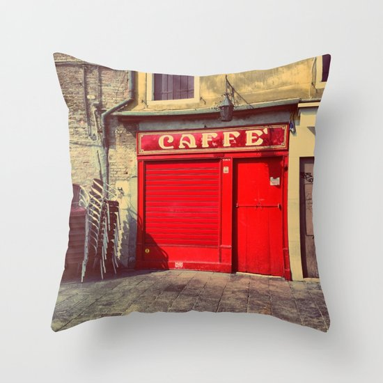Caffè in Red Throw Pillow