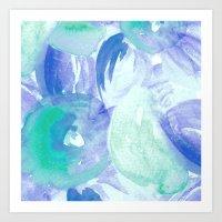 Turquoise Florals Art Print