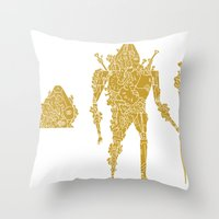 living robotic coral warrior  Throw Pillow