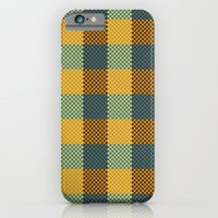 iPhone & iPod Case featuring Pixel Plaid - Winter Walk by Frostbeard Studio