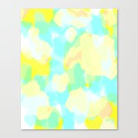 Caitie - Bright blue, green, yellow abstract art Canvas Print