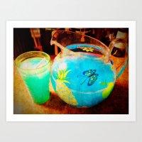 blue kool aid. Art Print