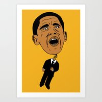 obama Art Prints featuring Obama by Gnarleston