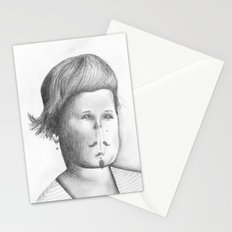 Mustached Girl  Stationery Cards