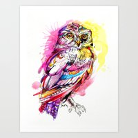 Neon Northern Pygmy Owl Art Print
