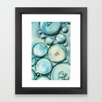 Sky Blue Bubble Abstract Framed Art Print