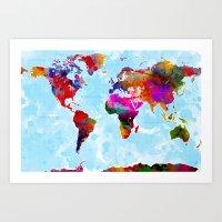 Watercolor World Map 5 Art Print