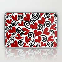 Red Hearts & Swirls Laptop & iPad Skin