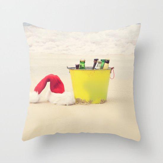 Santa Hat and Beach Beverage Throw Pillow