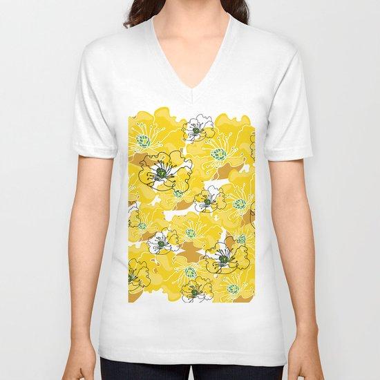 yellow marzipan flowers V-neck T-shirt