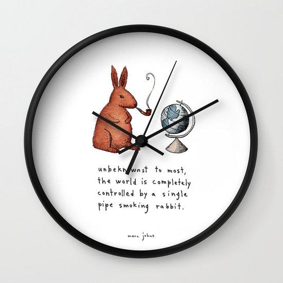 Pipe-smoking rabbit Wall Clock