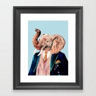 Framed Art Print featuring Elephant by Animal Crew