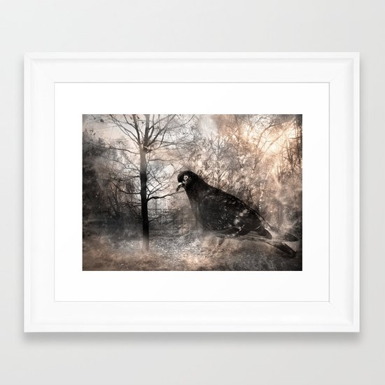Black bird and the foggy path Framed Art Print