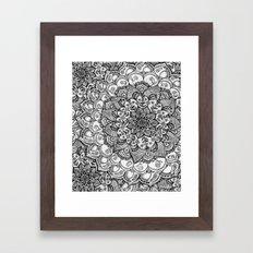 Shades of Grey - mono floral doodle Framed Art Print