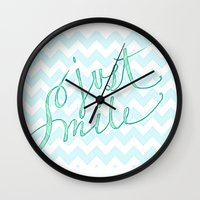 Just Smile - hand lettered calligraphy art print Wall Clock