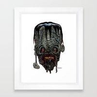 Heads of the Living Dead Zombies: Blockhead Zombie Framed Art Print