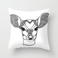 Monochrome Deer by Ashley Rose Throw Pillow