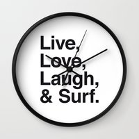Live Love Laugh and Surf Wall Clock