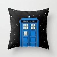 TARDIS in Space Throw Pillow