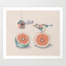 Citrus Bird Art Print