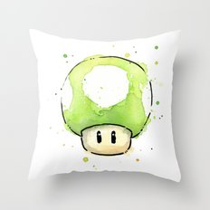 1UP Mushroom Painting Throw Pillow