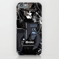 iPhone Cases featuring Broken, rupture, damaged, cracked black apple iPhone 4 5 5s 5c, ipad, pillow case and tshirt by Three Second