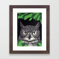 among the leaves (night) Framed Art Print