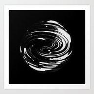 Satiny Black Marble Sphe… Art Print