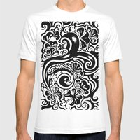 Abstract Mens Fitted Tee White SMALL